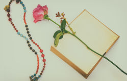 Rose with a book and a necklace Stock Image