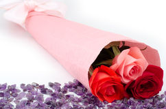 Rose bouquet and amethyst Royalty Free Stock Photography