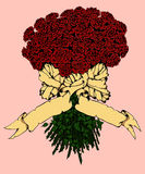 Rose bouquet with banner. Rose bouquet with space for your text. Vector illustration Stock Photo