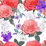 Rose bouquet beautiful nature seamless pattern. Vector vector illustration