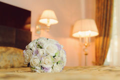 Rose Bouquet on Bed Royalty Free Stock Image
