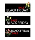 Rose Bouquet on Black Friday Sale Banner Stock Photography
