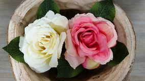 Rose bouquet in a bowl stock photos