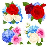 Rose Bouquet Concept Icons Set Royalty Free Stock Image