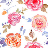 Rose bouquet design Seamless pattern on White background. Royalty Free Stock Image