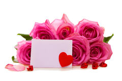Rose bouquet with gift card. Stock Images