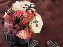 Rose bouquet. Of red and white roses for Halloween, selective focus Royalty Free Stock Photos