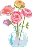 Rose. Bouquet of roses, flowers in a vase, pink color, a transparent vase, a green stalk Stock Image