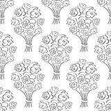 Rose bouquet seamless pattern. Hand drawn outline background. Flower sketch wallpaper. Stock Image