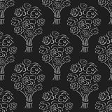 Rose bouquet seamless pattern. Hand drawn outline black background. Flower sketch wallpaper. Stock Photo