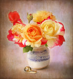 Rose Bouquet with garden  snail still life Stock Photos
