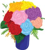 Rose Bouquet Vase Vector Illustration. For any purpose and media such as cover and illustration book, wallpaper, website, blog, print on paper, canvas, bag Vector Illustration