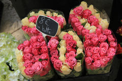 Rose bouquets at the market Stock Photo