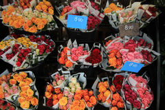 Rose bouquets at the market Stock Image