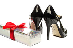 Rose box and Black strappy shoes Stock Photo
