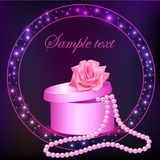 Rose and box with pearl necklace Stock Image