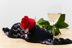Rose, bra and white wine Stock Photography