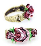 Rose Bracelet Front and Back. Front and back of a beautiful golden rhinestone rose flower bracelet Stock Photos