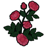 Rose Branch Embroidery Patch lizenzfreie abbildung