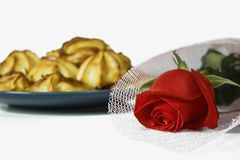 Rose and bread. stock photography