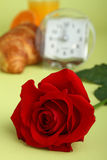 Rose and breakfast Stock Images