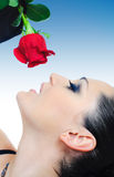 Rose and brunette Royalty Free Stock Image