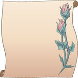 Rose Bud frame and scroll. Long Stem roses buds, pink.  Valentine messages or special occassions Royalty Free Stock Images