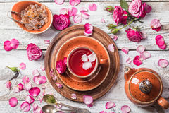 Rose buds tea in a cup Royalty Free Stock Photos