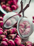 Rose buds tea, tea strainer and glass jar closeup. Stock Photography