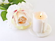 Rose and a burning candle Stock Image