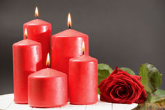 Rose , burning red candles on a table Stock Images