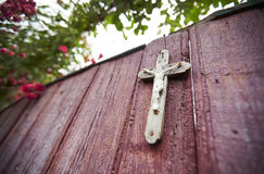 Rose bush on wooden gate with a cross. Rose bush overgrowing wooden gates with a cross. Ukrainian countryside Stock Photo