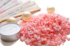 Rose Buth Salt And Candel Royalty Free Stock Photos