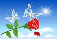 Rose and butterflies in the sky Royalty Free Stock Photos