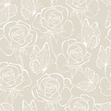 Rose and butterfly seamless_pattern pastel color Stock Photo