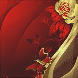 Rose and butterfly silhouette. Gold roses on a red background with flying around the butterfly Royalty Free Stock Images