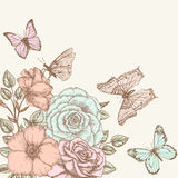Rose and butterfly 2. Vintage flower background. Beautiful invitation card with rose and butterfly Stock Photo