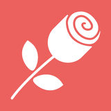 Rose button Icon. White rose button flat icon illustration EPS10 Royalty Free Stock Photography