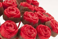 Rose Cake Pops on Red Vase Close up Royalty Free Stock Photos