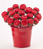 Rose Cake Pops on Red Vase Stock Photo