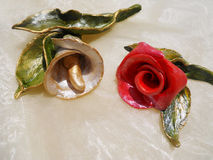Rose and calla. Two beautiful handmade flowers bright Stock Photo