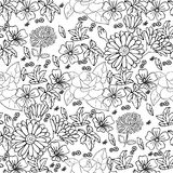 Rose camellia chrysanthemum leaves daisy mallow calendula hand drawn pattern on white Royalty Free Stock Images