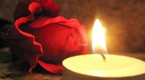 Rose and candle. Burning candle with red rose background Royalty Free Stock Photo
