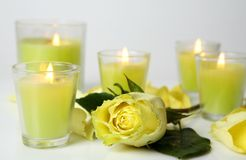 Rose and candles Royalty Free Stock Photography