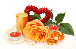 Rose and candles Royalty Free Stock Photos