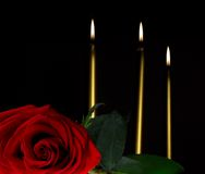 Rose and candles Stock Photos