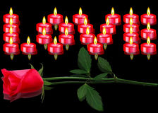 Rose and candles on black background. Red rose and red candles on black background Royalty Free Stock Photo