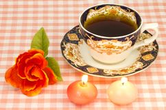 Rose and candles and coffee Royalty Free Stock Images