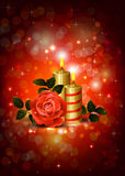 Rose and candles. Greeting-card with rose and candles of The Valentine's day Stock Image