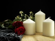 Rose with candles valentines day ornaments royalty free stock photo